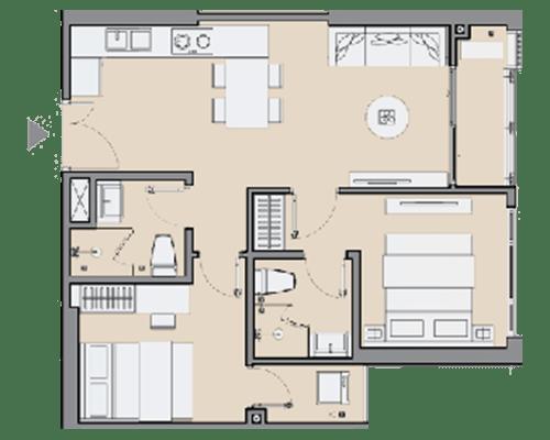 Căn hộ 2 phòng ngủ 55 m2 & Căn hộ 2 phòng ngủ 59 m2 & Căn hộ 2 phòng ngủ 62 - 64 m