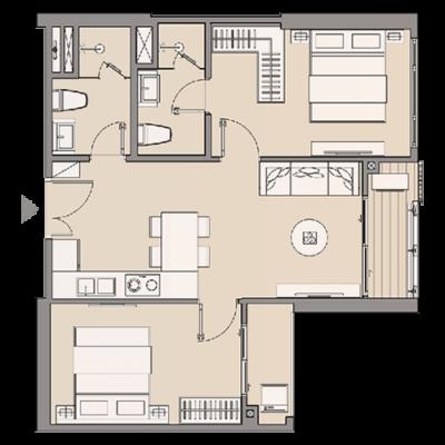 Căn hộ 1 phòng ngủ 41 - 49 m2
