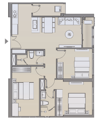 Căn hộ 3 phòng ngủ 73 - 75 m2 & Căn hộ 3 phòng ngủ 79 m2